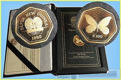Papua New Guinea 100 Kina 'Golden Butterfly' Gold Proof Coin 1990