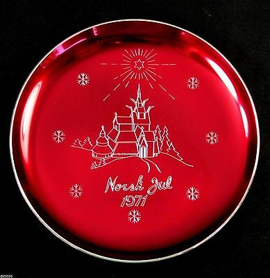 """Historic Norway Christmas Plate Norsk Jul 1971 Stave Church Red Silver 7"""" Enamel"""