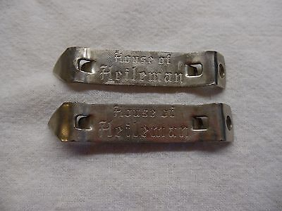 2 Vintage HOUSE OF HEILEMAN can/bottle opener - RARE