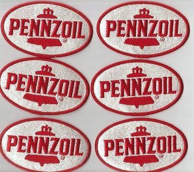 PENNZOIL PATCH Lot (6) Scarce RED & WHITE OVAL Racing HAT Jacket MINT