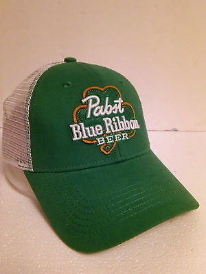 Pabst St.Patrick Shamrock Cloth & Mesh Snapback Baseball Beer Sign Cap..B/New