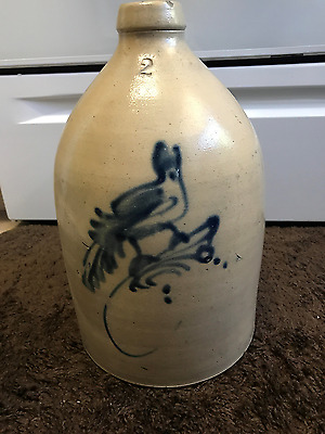 18 CENTURY New York State Stoneware 2 Gallon Jug with Bird on a Branch
