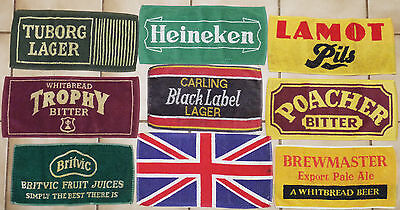 Lot of 9 Used Beer Pub Bar Mat Towels from London England Free Shipping