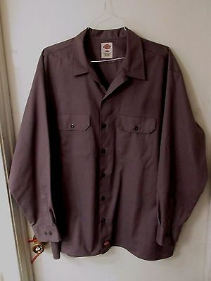 DICKIES Gray Long Sleeve Poly/Cotton Work Shirt Men's Size 2XL