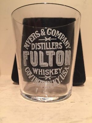 Antique Pre Pro Etched Fulton Whiskey Shot Glass Myers and Co Covington Kentucky