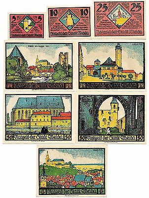 **1921 WEIDA Germany Banknote - COLORFUL ~ Complete Set of 8 German Notgeld UNC