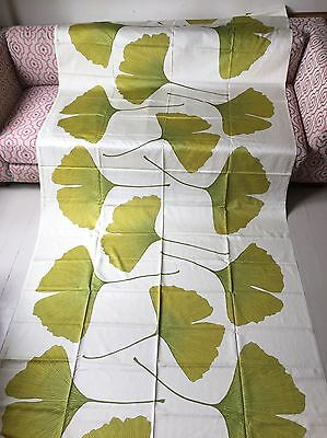 Marimekko Ginkgo Cream/Green Cotton Sateen Fabric 3.2m Curtains Blinds Wall Art