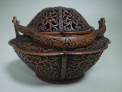 """Unusual Old Chinese Bronze Incense Burner Cover Censer """"XuanDe"""" Mark"""