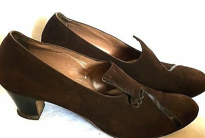 Vintage 1920S-1930S Brown Suede Pump Heels W/ Decorative Toe Design Sz 8 A