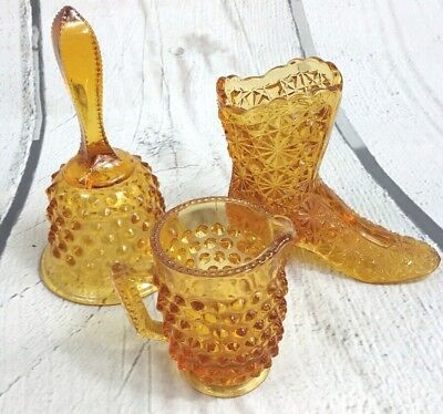 Vintage Amber Hobnail Glass Decorative 3 Pieve Set Boot Cup Bell Retro Figures