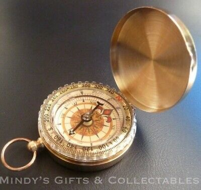 Quality Classic Antique Gold Pocket Watch Style Compass with Precision Accuracy