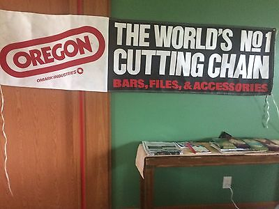 vintage oregon chain saw advertising sign. heavy paper