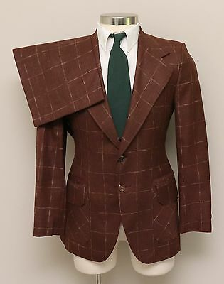 Vintage 1970s Mens 36R Ratner Clothes 2 Piece Brown Check Wool Suit