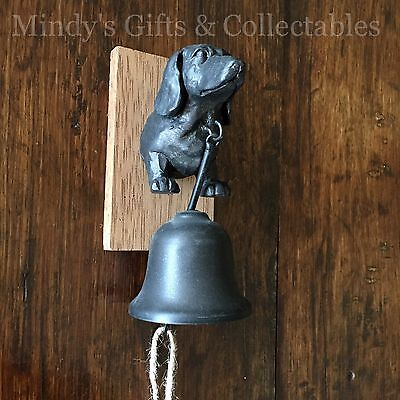 Antique Style Dog Dachshund Iron & Wood Hanging Door Bell Wall Mounted