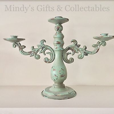 30cm High Vintage Style Green Metal Triple Candleabra Candle Holder Candle Stick