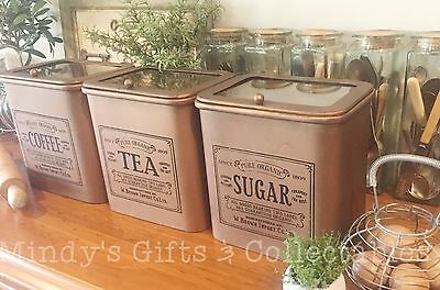 Vintage Style Set of 3 Metal Kitchen Canisters Tea Coffee Sugar Hinged Glass Lid