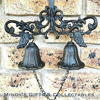 Antique Style Cast Iron Hanging Double Door Bell Wall Mounted Garden Decor