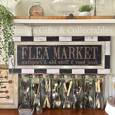 71cm Long Wooden Flea Market Antiques Old Stuff Sign Wall Art Wall Hanging