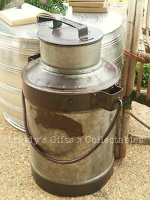 50cm Tall Antique Vintage Style Heavy Solid Metal Milk Pail Milk Can