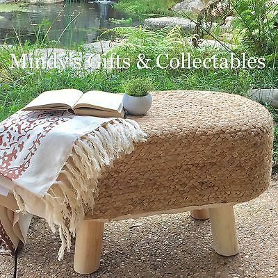 61cm Long Handcrafted Wood & Braided Jute Ottoman Footstool Table