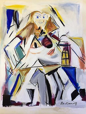 """Abstract Woman Painting On Paper, 11""""x14"""", Willem de Kooning"""
