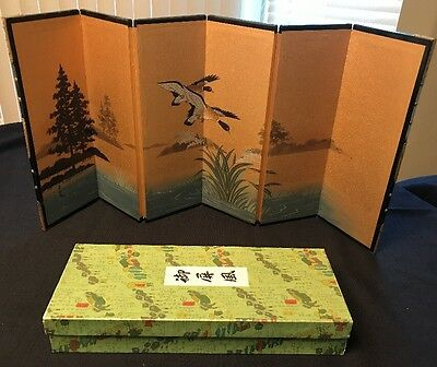 Vintage Japanese Folding Table Top Screen Painting~Artist Signed~Pond Scene