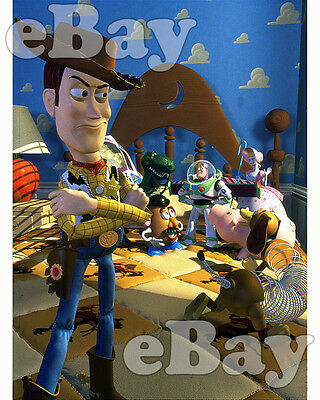 Rare! DISNEY PIXAR'S TOY STORY Cartoon Color 8 X 10 Photo WOODY & BUZZ LIGHTYEAR
