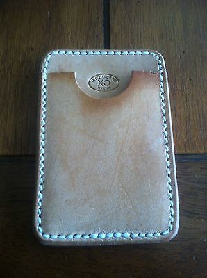 Custom leather business card holder maker marked USA hand made