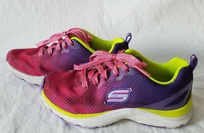 Skechers Girls Pink Purple Yellow Athletic Shoes Youth Size 11