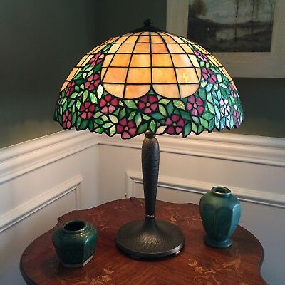 Handel Double Signed Circa 1915 Leaded Glass Lamp