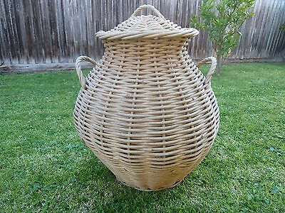 Large Wicker Cane Laundry Basket Storage Hamper With Lid And Handles