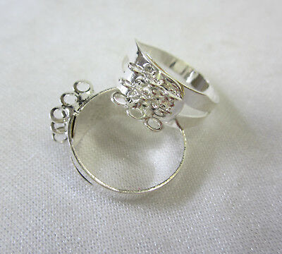 2 Ring Bases With 9 Loops to Add Your Own Beads to Rings in Silver Tone JF1029