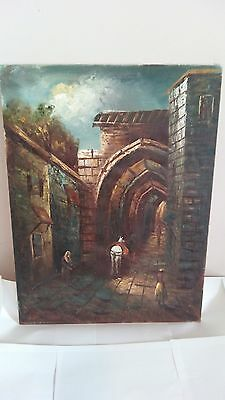 Jerusalem Street in Jesus time - Oil Painting on Canvas, 18 x 24 Inch