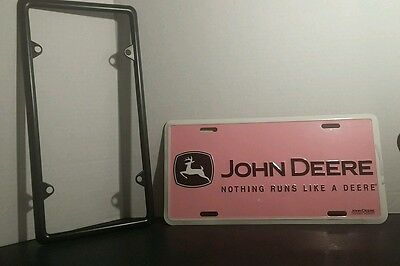 John Deere Pink Tag and Frame For Vehicles Automotive Decor Farming Metal Car Tr