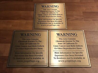 Heavy 3 Bronze Warning Sign Chemicals Cancer Birth Defects Reproductive Oddities