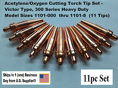 Oxygen/Acetylene Cutting Torch Tip Set - Victor Type HD 300 Series- 11pcs