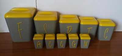 Vintage Retro Gay Ware Grey & Bright Yellow Canister Set with Matching Spice Set