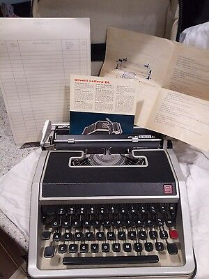 Vintage Olivetti Lettera DL typewriter with Case, Manual and Original Papers