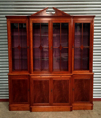 Charles Barr Victorian Style Cherry Wood Breakfront Display Cabinet On Cupboard.
