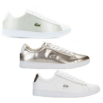 Lacoste Womens Carnaby Lace Up Active Sport Gym White Gold Grey Lo Top Trainers