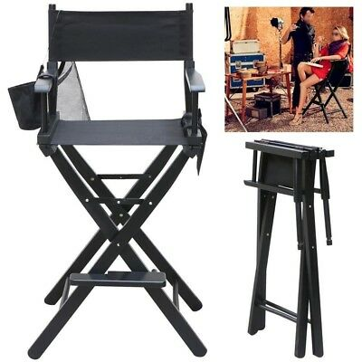 Makeup Folding Chair Wood Deluxe w/ Side Bags Telescopic Artist Director