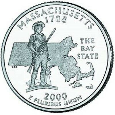 2000 - MASSACHUSETTS State Quarter / Philadelphia Mint / BRILLIANT UNCIRCULATED