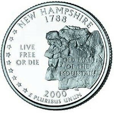 2000 - NEW HAMSHIRE State Quarter / Philadelphia Mint / BRILLIANT UNCIRCULATED