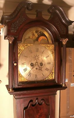 Antique Mahogany Brass Moon Moon Phase Dial  Longcase / Grandfather Clock