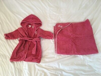 Vertbaudet 12-18 Months Baby Girls Dressing Gown And Towel Set Pink