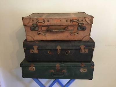 Set 3x Vintage Rustic Retro Suitcases Luggage Trip Travel Sticker Shabby Leather
