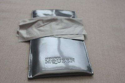 Alexander McQueen sunglasses glasses silver pouch bag, with cleaning cloth new