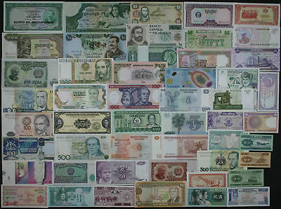 LOT SET of 50 Different WORLD BANKNOTES - NICE COLOURFUL COLLECTION (AU-UNC) #6