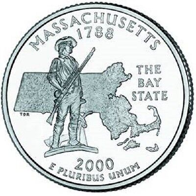 2000 - MASSACHUSETTS State Quarter / Denver Mint / BRILLIANT UNCIRCULATED