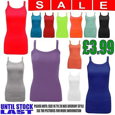 Ladies Sleeveless Cami Strap Ribbed Vest Womens Casual Top T-Shirt Blouse 8-28